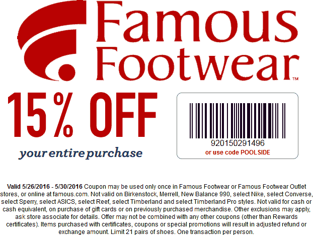 Famous Footwear Coupon December 2016 15% off at Famous Footwear, or online via promo code POOLSIDE
