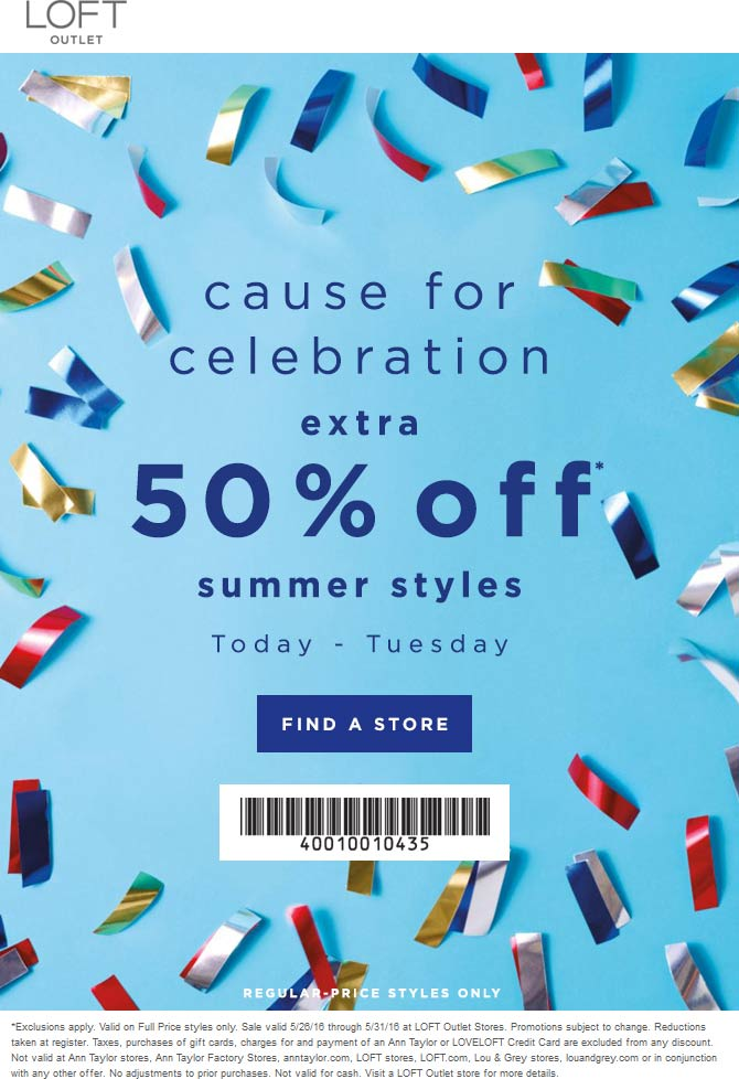 LOFT Outlet Coupon May 2018 Extra 50% off summer at LOFT Outlet
