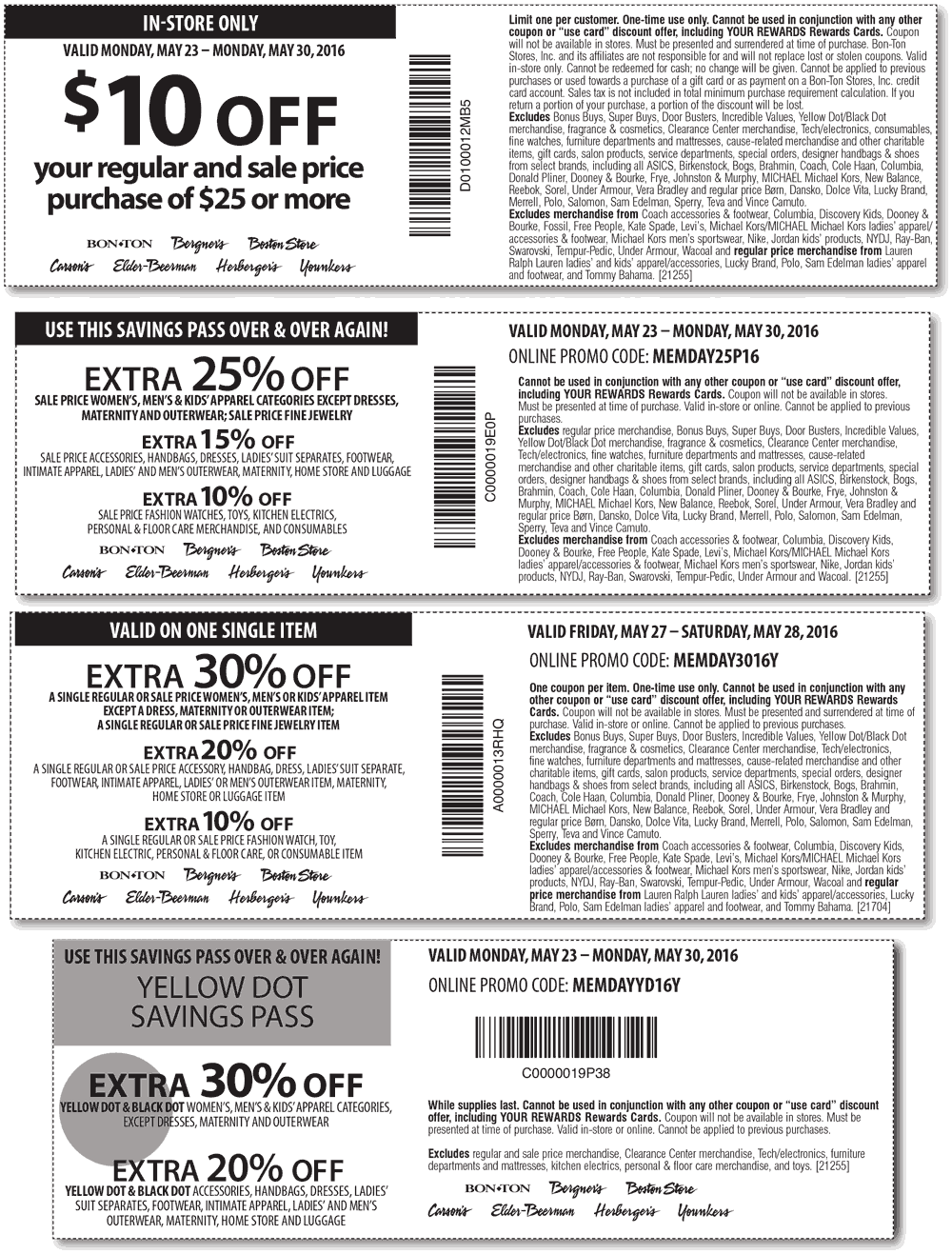 Carsons Coupon October 2016 $10 off $25 & more at Carsons, Bon Ton & sister stores, or 25% online via promo code MEMDAY25P16