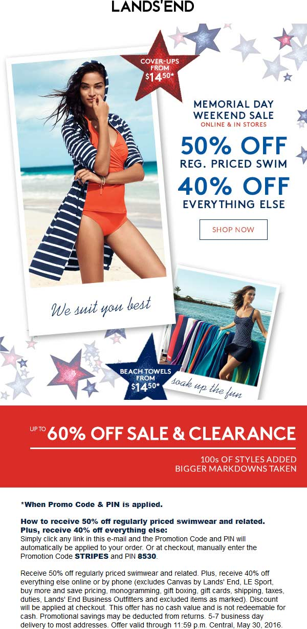 Lands End Coupon February 2017 40% off everything & more at Lands End, or online via promo code STRIPES & pin 8530