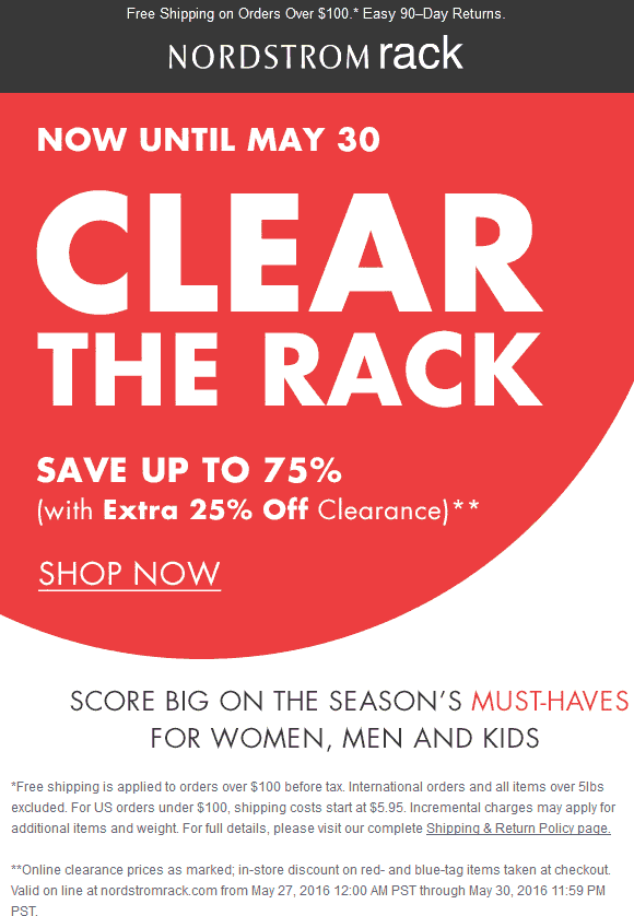 Nordstrom Rack Coupon February 2017 Extra 25% off clearance at Nordstrom Rack, ditto online