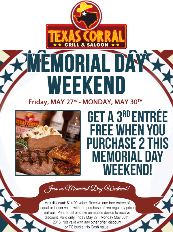 Texas Corral Coupon July 2017 3rd entree free at Texas Corral grill & saloon