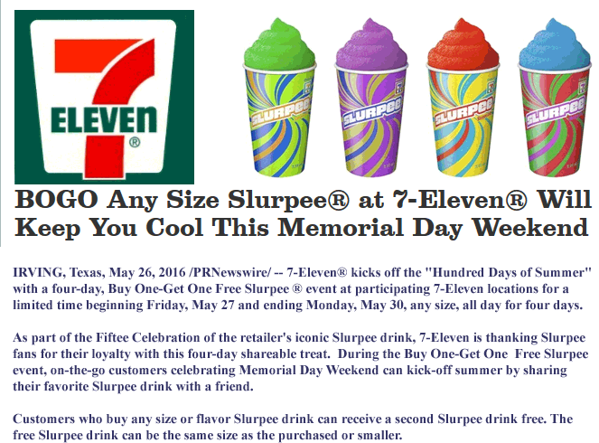 7-Eleven Coupon January 2017 Second slurpee free at 7-Eleven