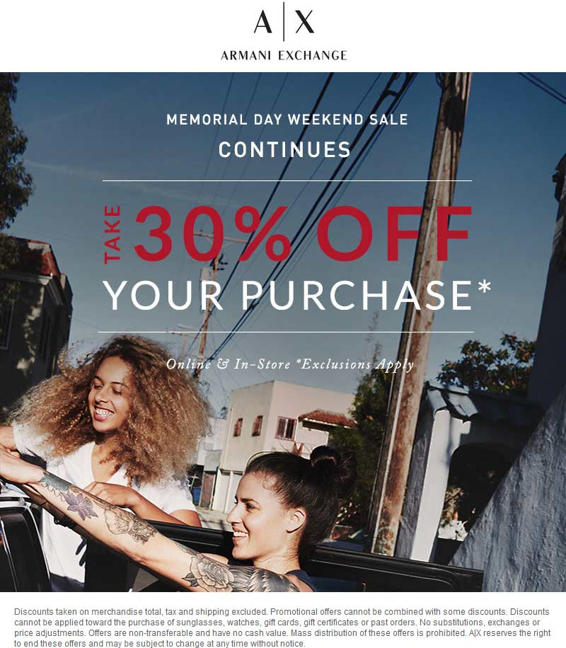 Armani Exchange Coupon October 2016 30% off at Armani Exchange, ditto online