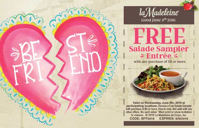 La Madeleine Coupon January 2018 Free salad sampler with $8 spent the 8th at la Madeleine cafe