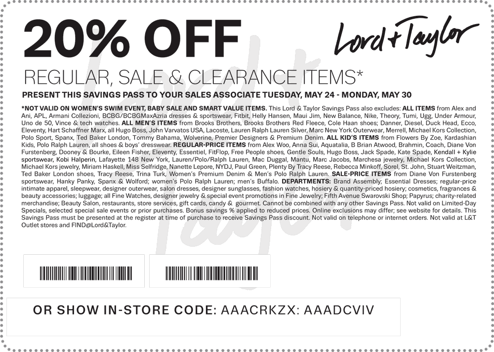 Lord & Taylor Coupon April 2017 20% off at Lord & Taylor, or online via promo code GIVE