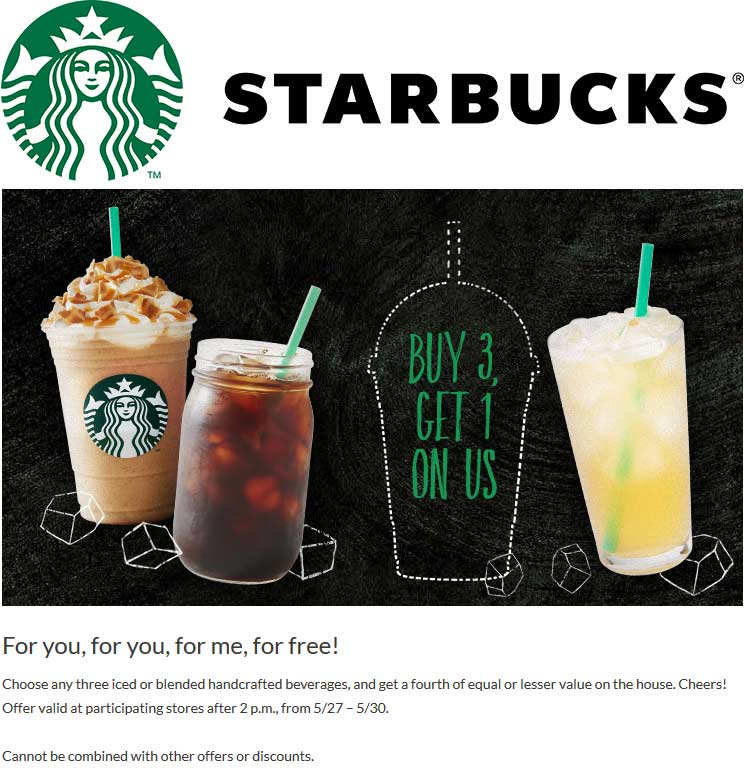Starbucks Coupon June 2018 4th blended or iced drink free at Starbucks