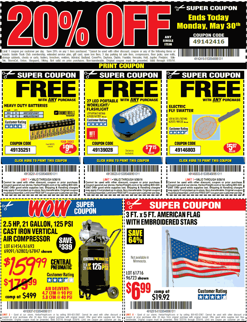 Harbor Freight Coupon January 2017 20% off a single item & more today at Harbor Freight Tools