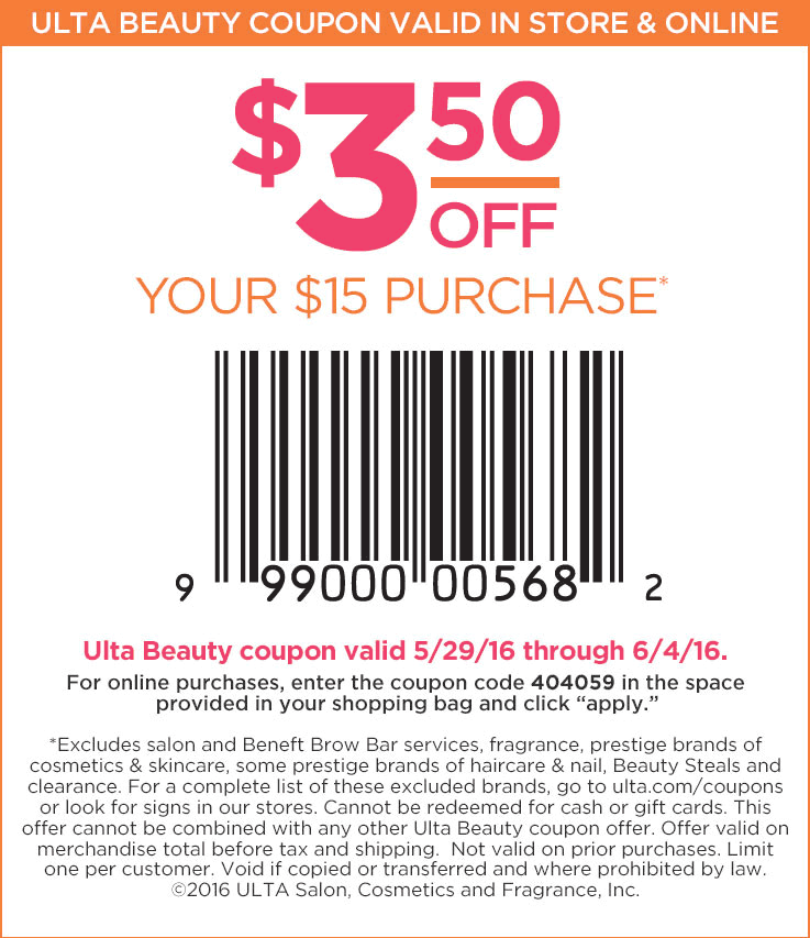 Ulta Coupon May 2017 $3.50 off $10 at Ulta Beauty, or online via promo code 404059