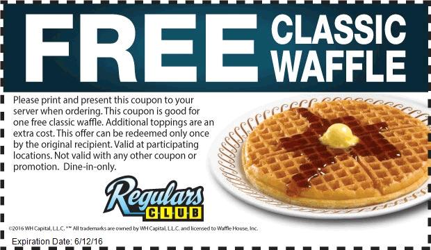 Waffle House Coupon April 2017 Free waffle at Waffle House