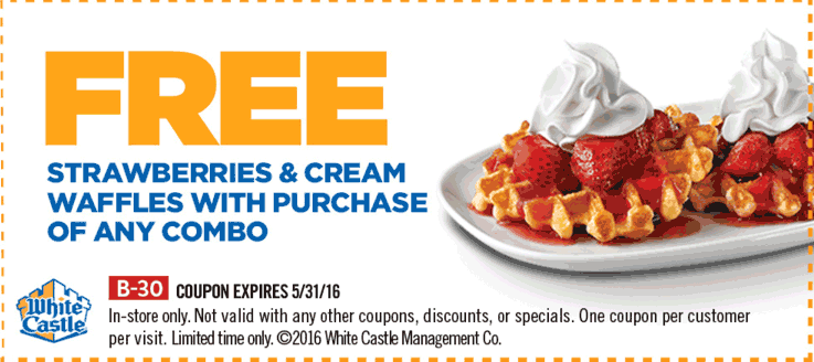 White Castle Coupon January 2018 Strawberry waffles free with your combo at White Castle