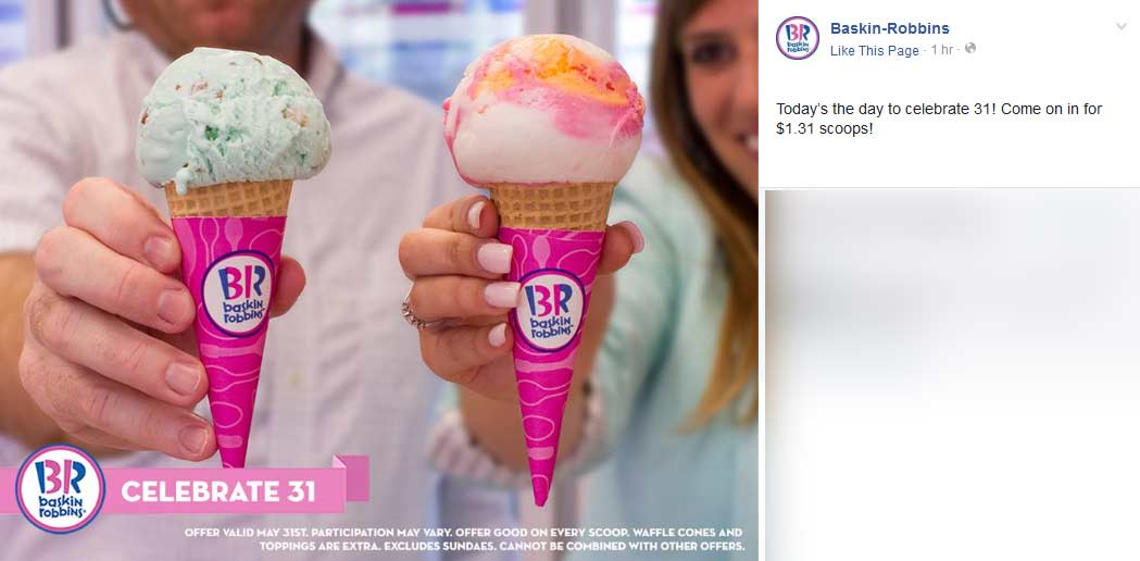 Baskin Robbins Coupon October 2016 $1.31 ice cream scoops today at Baskin Robbins