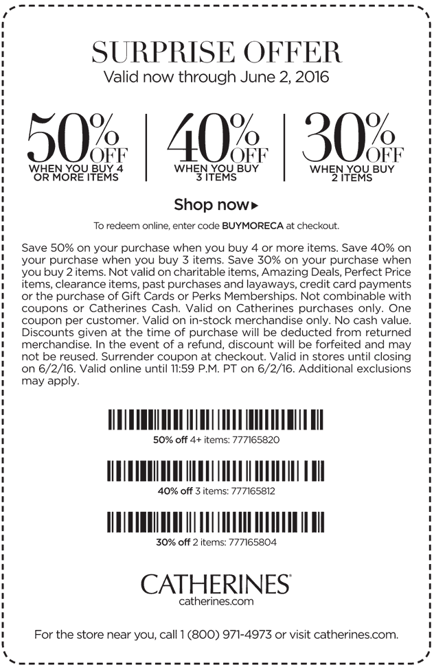 Catherines Coupon January 2017 30-50% off 2+ items at Catherines, or online via promo code BUYMORECA