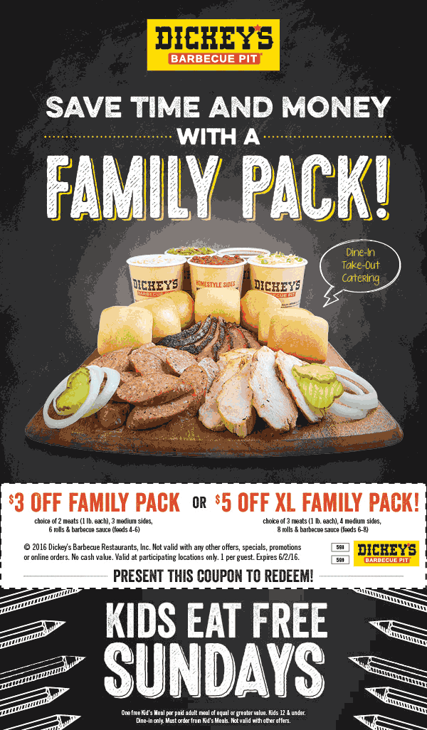 Dickeys Barbecue Pit Coupon April 2017 $3-$5 off a family meal at Dickeys Barbecue Pit