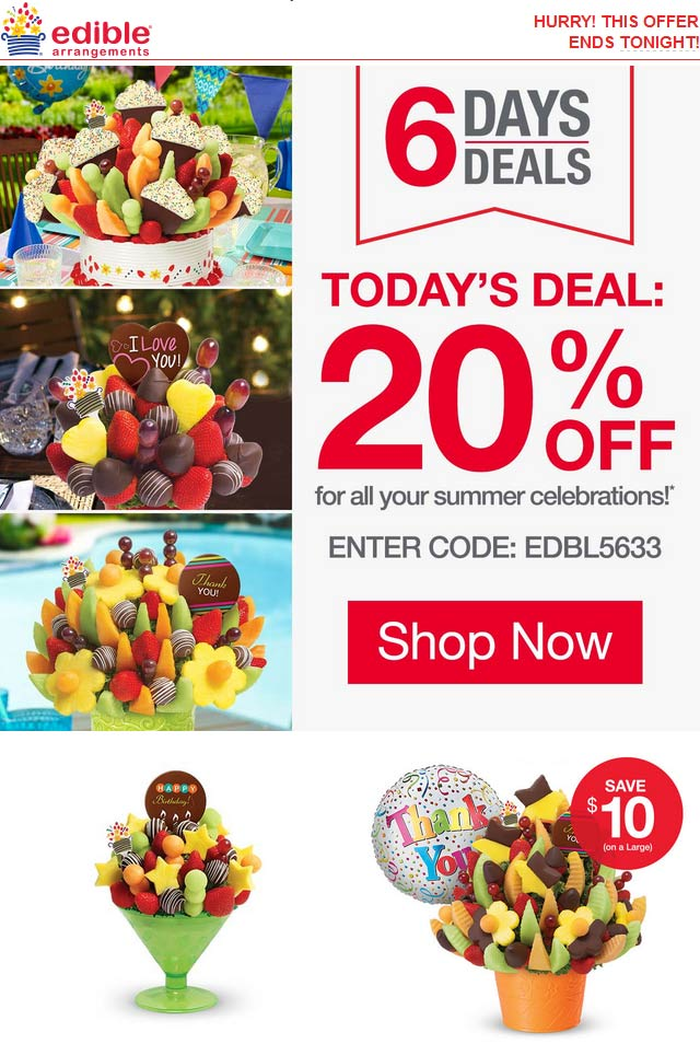 EdibleArrangements.com Promo Coupon 20% off fruit bouquets today at Edible Arrangements via promo code EDBL5633