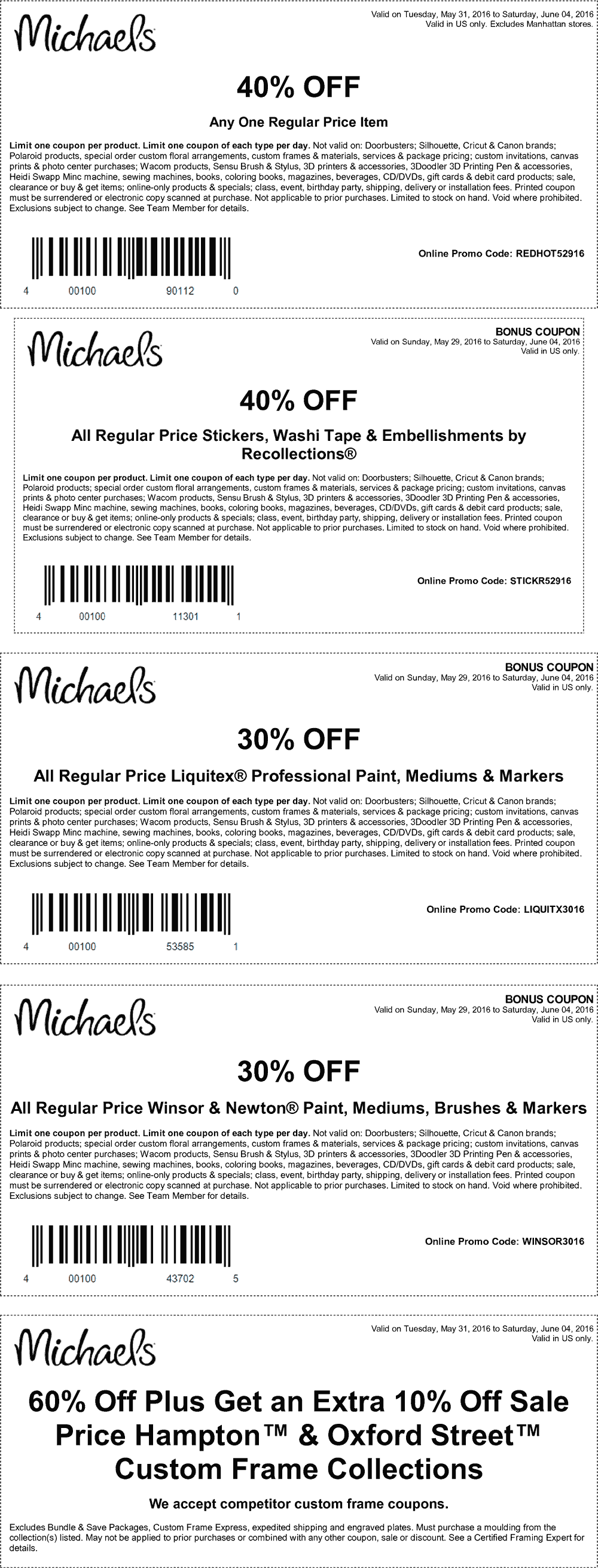 Michaels Coupon May 2018 40% off a single item & more at Michaels, or online via promo code REDHOT52916