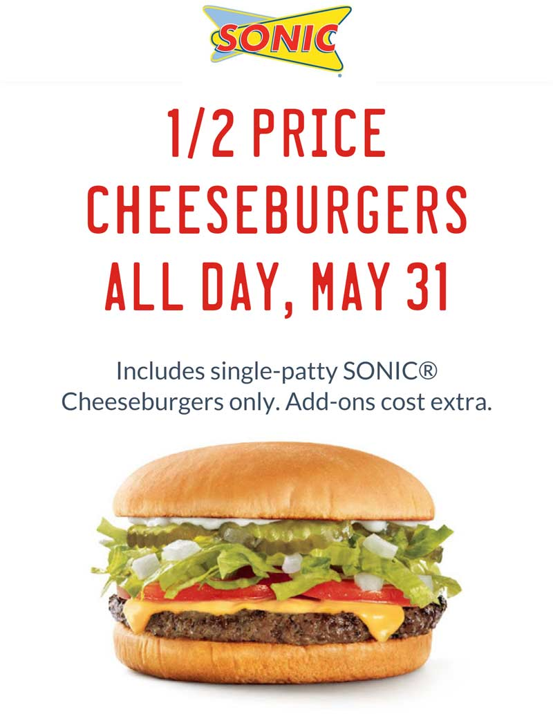 Sonic Drive-In Coupon October 2016 50% off cheeseburgers today at Sonic Drive-In