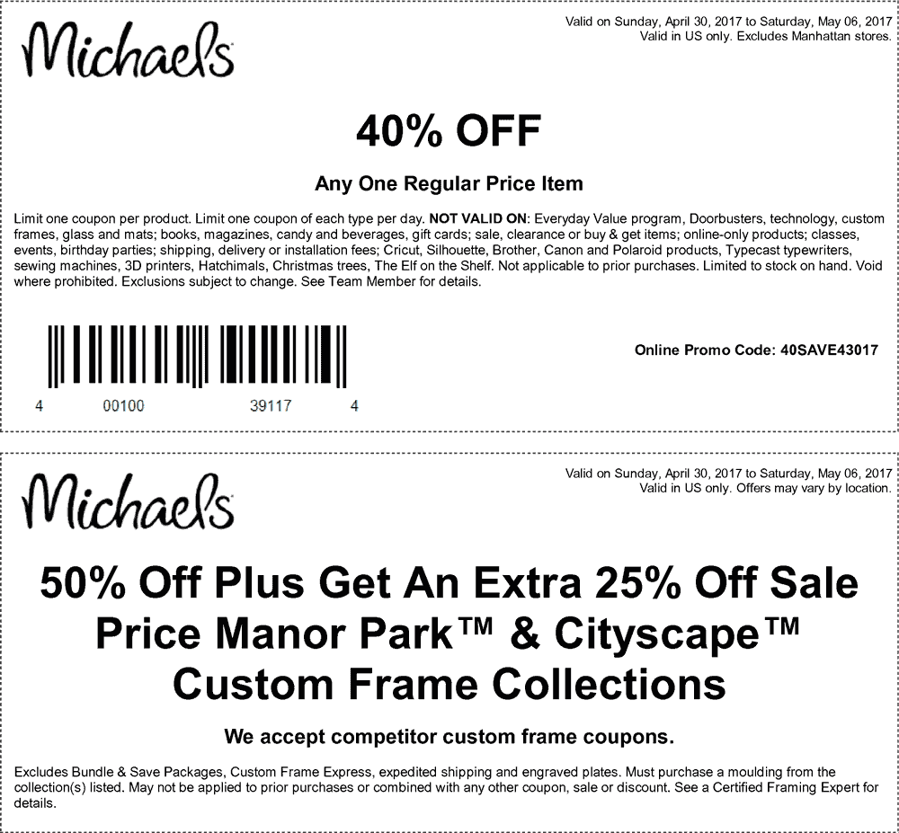 Michaels Coupons Promo Codes 50 Off 2018