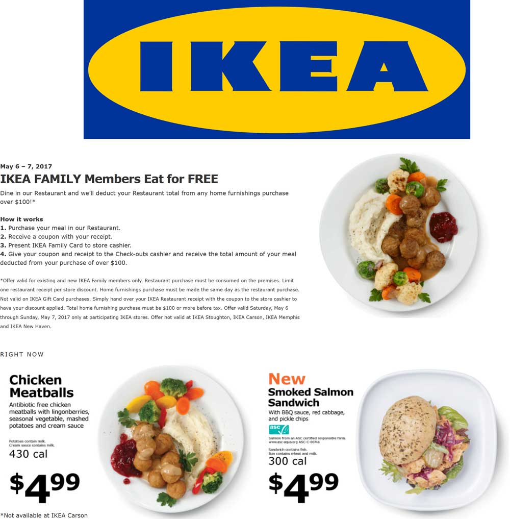 IKEA Coupon August 2018 Eat free with $100 spent this weekend at IKEA