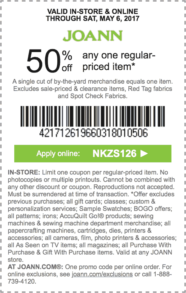Jo-Ann Fabric Coupon August 2018 50% off a single item at Jo-Ann Fabric, or online via promo code NKZS126
