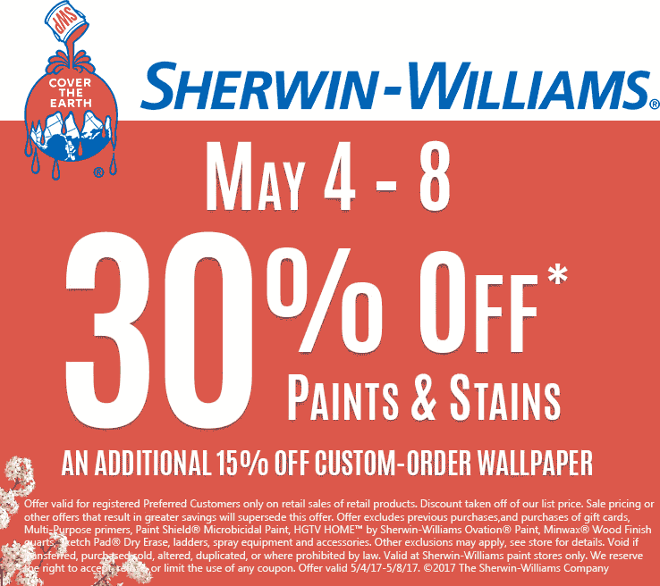 Sherwin Williams Coupon July 2019 30% off paints & stains at Sherwin Williams