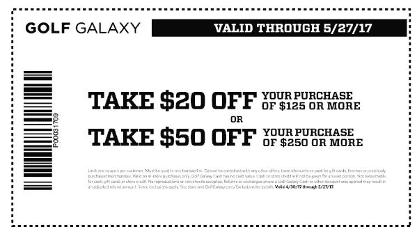 GolfGalaxy.com Promo Coupon $20 off $125 & more at Golf Galaxy
