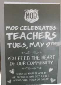 Mod Pizza Coupon December 2018 Teachers enjoy a free pizza or salad Tuesday at Mod Pizza