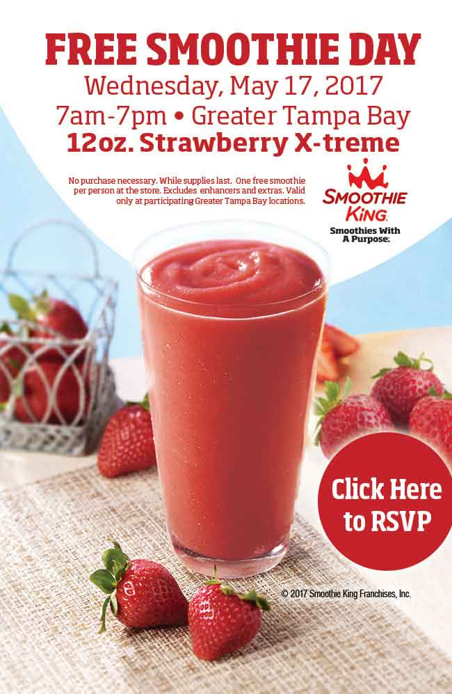 Smoothie King Coupon November 2017 Some Smoothie King locations are giving away smoothies the 17th, no purchase necessary