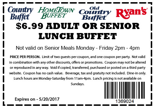 old country buffet coupons 7 lunch buffet at ryans hometown rh thecouponsapp com old country buffet coupons country buffet coupons 2017