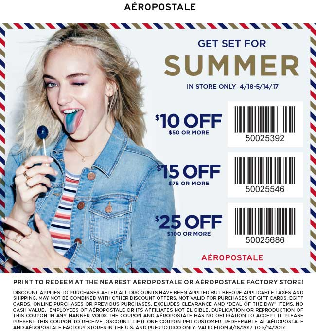 Aeropostale Coupon August 2018 $10 off $50 & more at Aeropostale, or online via promo code SUMMER25