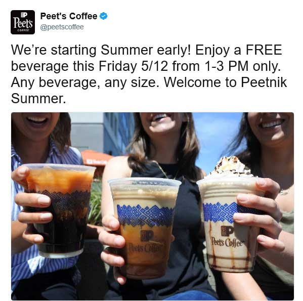 Peets Coffee & Tea Coupon March 2019 Free beverage Friday at Peets Coffee & Tea
