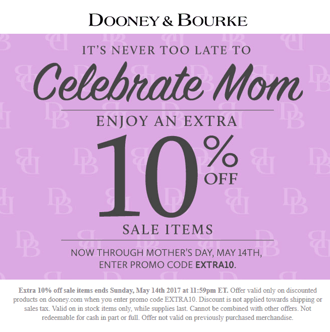 Dooney&Bourke.com Promo Coupon Extra 10% off online at Dooney & Bourke via promo code EXTRA10