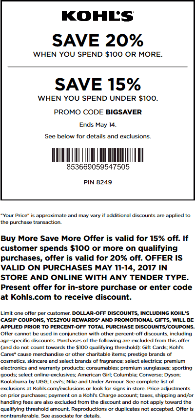 Kohls Coupon December 2018 15-20% off at Kohls, or online via promo code BIGSAVER
