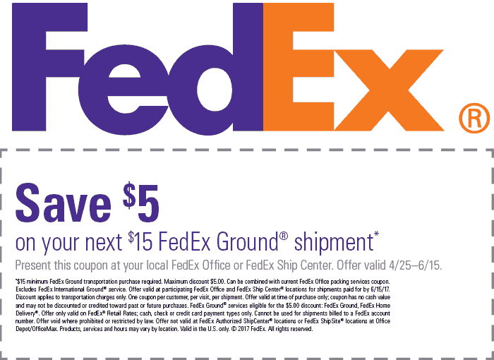 FedEx.com Promo Coupon $5 off $15 on ground shipments at FedEx