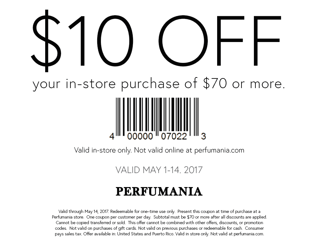 Perfumania Coupon December 2018 $10 off $70 at Perfumania