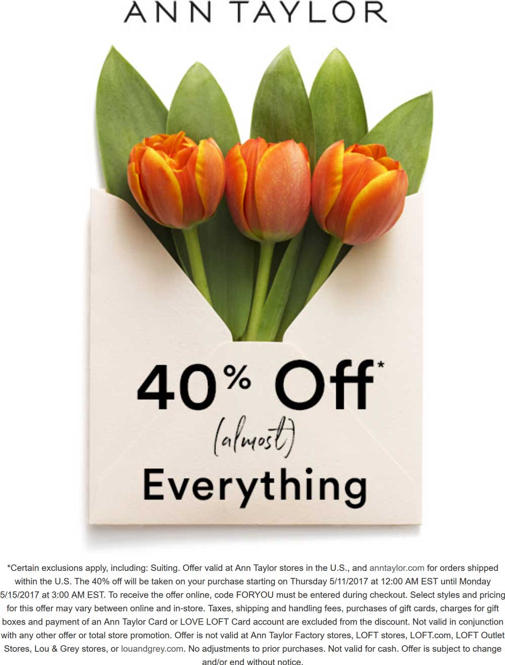 Ann Taylor Coupon October 2018 40% off today at Ann Taylor, or online via promo code FORYOU