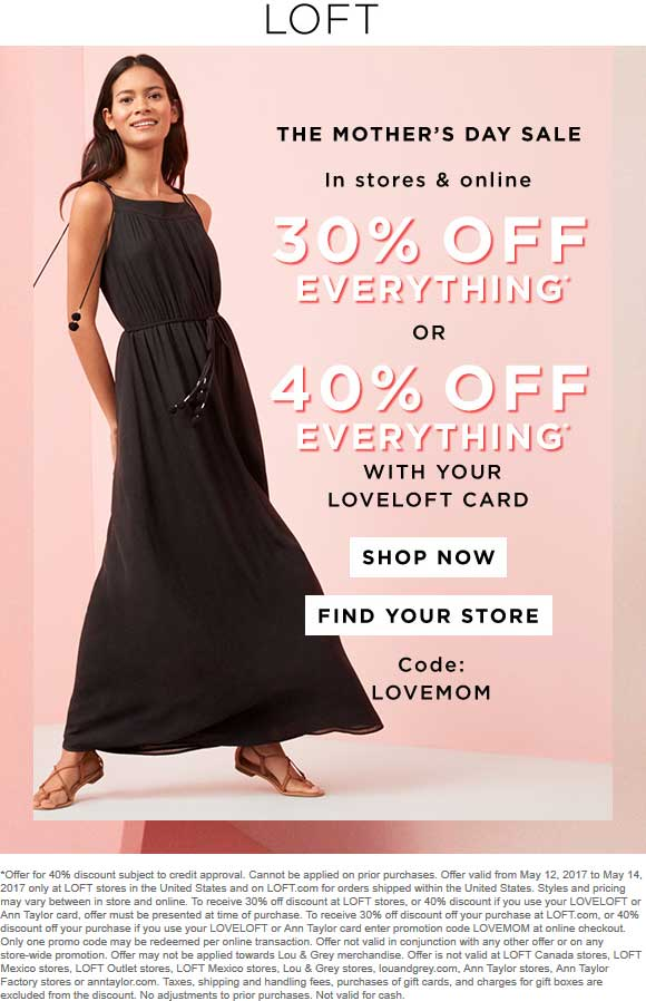 LOFT Coupon August 2018 30% off everything today at LOFT, or online via promo code LOVEMOM