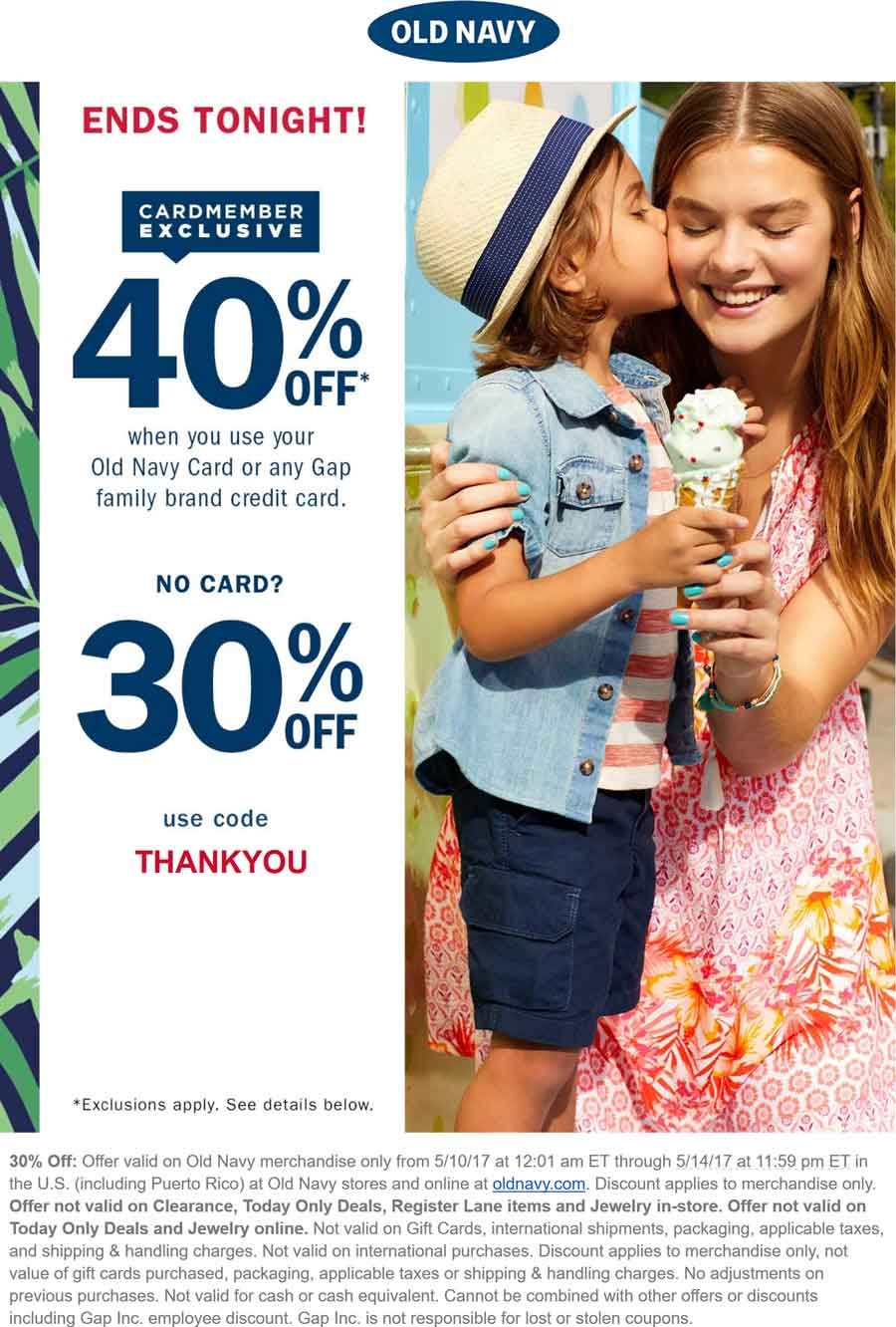 Old Navy Coupon August 2018 30% off today at Old Navy, or online via promo code THANKYOU
