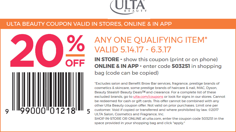 Ulta Coupon November 2017 20% off a single item at Ulta Beauty, or online via promo code 503251
