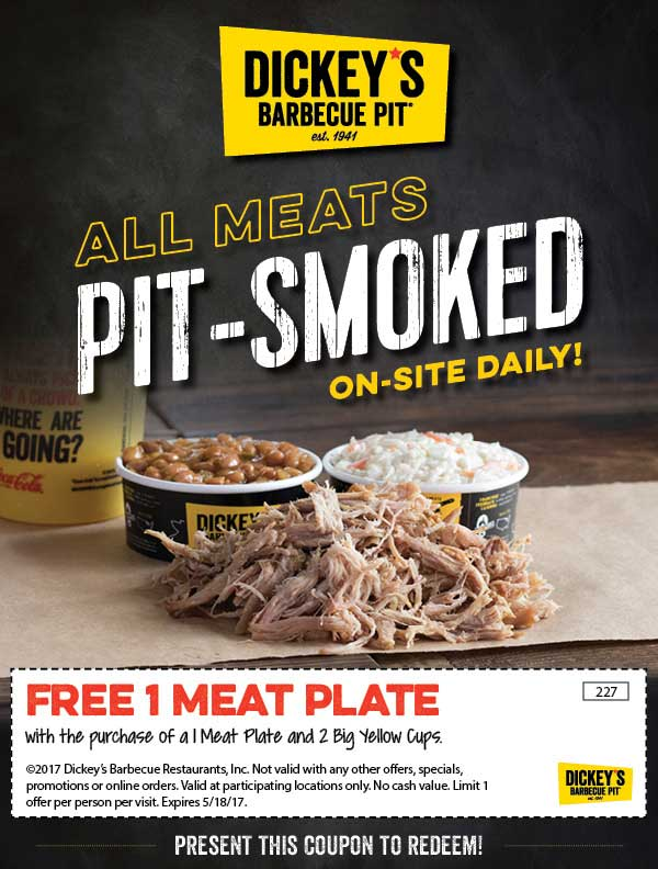 Dickeys Barbecue Pit Coupon August 2018 Second meat plate free with your drinks at Dickeys Barbecue Pit
