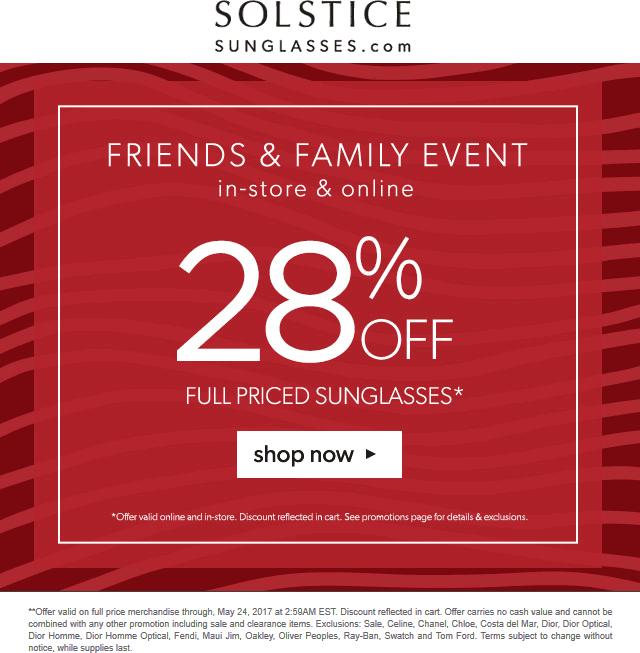 SolsticeSunglasses.com Promo Coupon 28% off at Solstice Sunglasses, ditto online