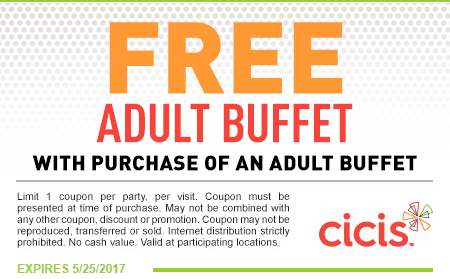 CiCis Pizza Coupon July 2017 Second buffet free at Cicis pizza