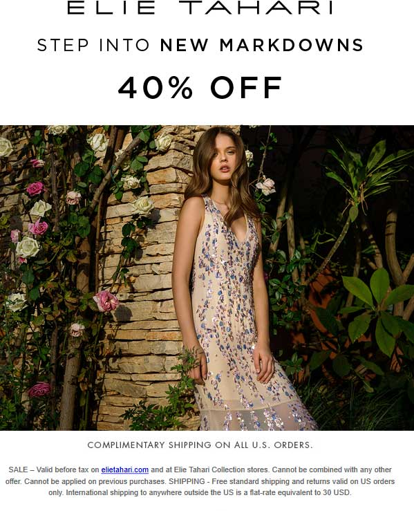 Elie Tahari Coupon February 2018 40% off sale going on at Elie Tahari, ditto online (0