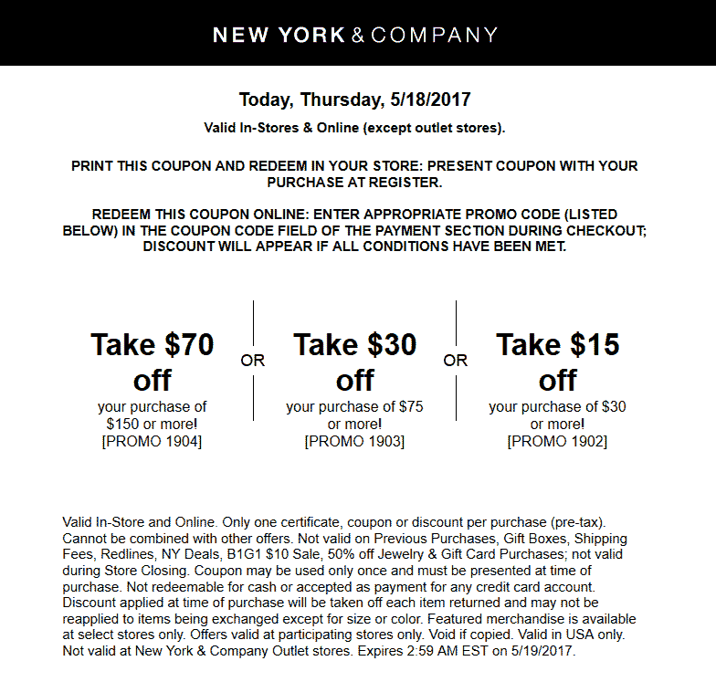 New York & Company Coupon August 2018 $15 off $30 & more today at New York & Company, or online via promo code 1902