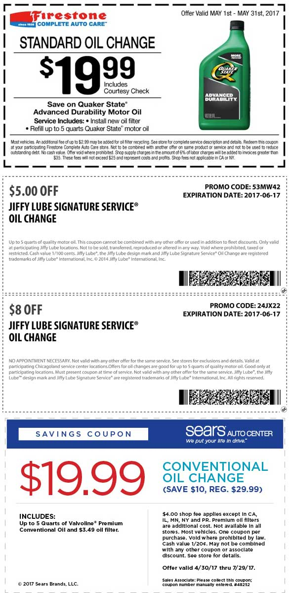 Jiffy Lube Coupon January 2018 $20 oil change & more at Firestone, Sears Auto & Jiffy Lube