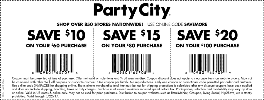 Party City Coupon December 2018 $10 off $60 & more at Party City, or online via promo code SAVEMORE