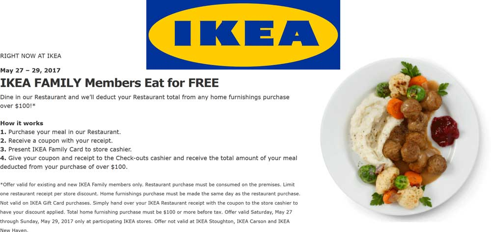 IKEA Coupon October 2018 Eat free with $100 spent at IKEA furniture