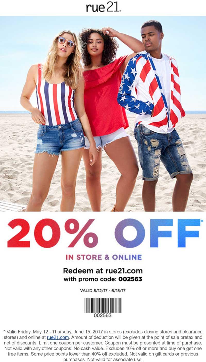 Rue21.com Promo Coupon 20% off at rue21, or online via promo code 002563