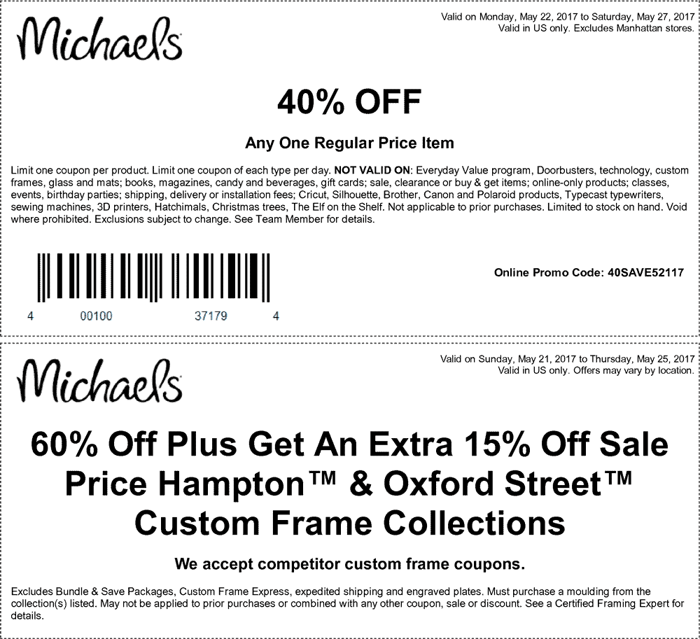 Michaels.com Promo Coupon 40% off a single item at Michaels, or online via promo code 40SAVE52117