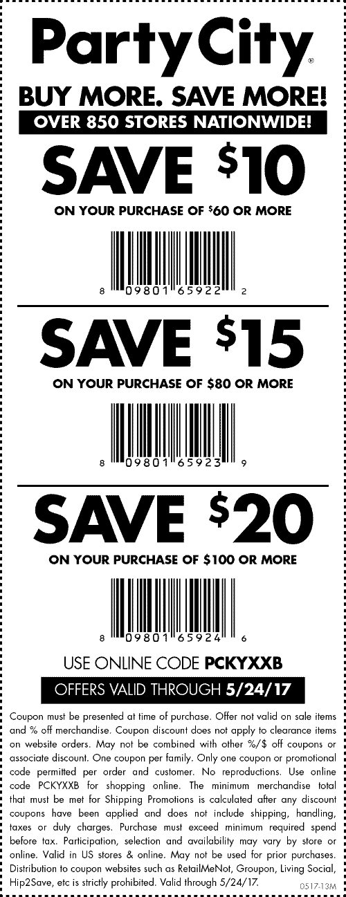 Party City Coupon August 2018 $10 off $60 & more at Party City, or online via promo code PCKYXXB
